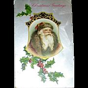 Winsch Schmucker Santa Claus in Bell Shaped Cameo Postcard