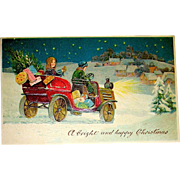 Beautiful German Christmas/ Suffragette Postcard - Young Women, Gifts, Antique Auto