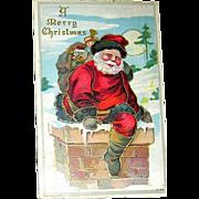 Christmas Postcard—Fancy Santa Claus Steps Inside a Chimney