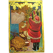 "Colorful Christmas ""Night Before Christmas"" Santa Claus Postcard"