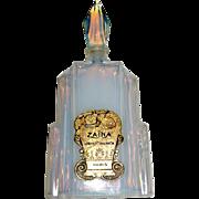 French Opalescent Deco Skyscraper Perfume Bottle with Paris Label