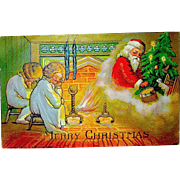 Magical Santa Claus Appears in a Cloud of Chimney Dust Postcard