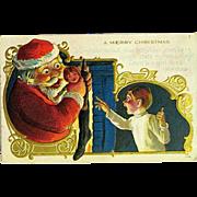Comical International Christmas Postcard, Santa Fills the Wrong Stocking
