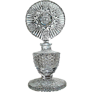 Brilliant Period Cut Cyrstal Perfume Bottle w Large Showy Stopper