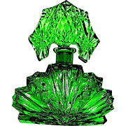 Beautiful Czech Marked Vibrant Green Perfume Bottle w Tiara Stopper