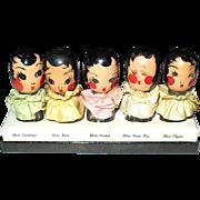"""Karoff """"Floral Quintuplets"""" Set of Figural Perfume Bottles"""