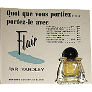 "50's Rare Yardley ""Flair"" Micro-Mini Perfume Bottle on French-English Advertising Card"