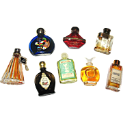 Vintage Set of Eight Mini Perfume Bottles, Five w Full Contents