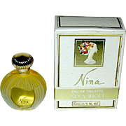 "Nina Ricci ""NINA"" eau de toilette 1/5 oz. Sample Bottle, Full, Excellent box"