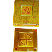 """Patou For Ever"" Bejeweled Gold Plate Solid Perfume Compact, FULL, MIB"