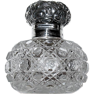 Antique Sterling Silver Mappin & Webb London Cut Crystal Perfume / Scent Bottle