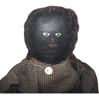 Primitive Black Oil Painted Doll w Hair, Replaced Old Gingham Dress