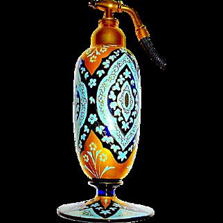 Museum Quality Czechoslovakian Perfume Atomizer - Exquisite -  Enamel - Gold - PRISTINE