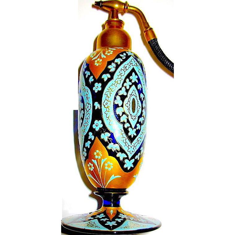Museum Quality Art Glass Perfume Atomizer -Perfect Enamel & Heavy Gilt
