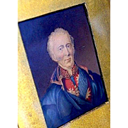 Framed Miniature Painting of 18th Century Military Officer on Vellum