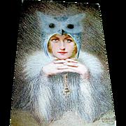 """Rare E. Rousselet Salon de Parie Art Nouveau Woman Postcard, """"The Night Bird"""""""