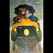 "Very Scarce R. Kirchner Signed Art Nouveau ""Women in Auto"" 1909 Paris Postcard"