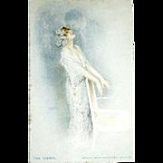 """Excellent Raphael Kirchner's Signed Impressionist Postcard—""""The Vision"""""""