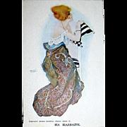 "Raphael Kirchner Signed ""MA MARRAINE"" Unused Glamour Woman Postcard"