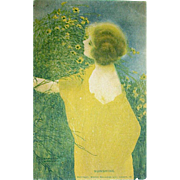 "Raphael Kirchner Signed ""SUNSHINE"" Art Nouveau Woman Postcard"