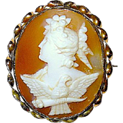 Rare 19th Century Cameo Brooch, Demeter and Royal Eagle (Symbol of Zeus)