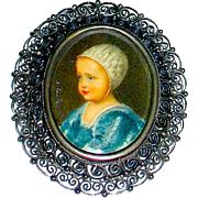 Artist Signed Miniature Portrait Brooch of an Infant