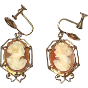 Vintage Delicate Goddess Flora Hand Carved Screw Back Earrings
