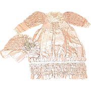 "French Style Peach Silk Dress & Bonnet for 18""-20"" Doll"