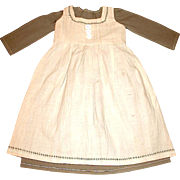 Olive Cotton Dress w Full Dress Apron — New Old Store Stock