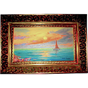 Beautiful Impressionist Oil Painting of Lakeside Sunset by Gyula Metyko, Hungarian Listed Artist