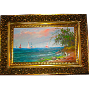 Beautiful Impressionist Oil Painting of Sailboats on Lake Erie by Gyula Metyko, Hungarian Listed Artist