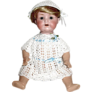 "Adorable White Crocheted Dress w Interwoven Blue Ribbons - For 10"" - 12"" Doll"