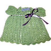 "Adorable Green Crocheted Dress w Interwoven Purple Ribbons for a 12""- 13"" Doll"