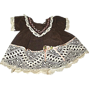 "Adorable Lace Trimmed Brown Dress w Pink Ribbons & Embroidery - For 9-10"" Doll"