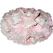 "Adorable Small Pink Lace Covered Dress w Attached Petticoat - For a 7"" - 8"" Doll"