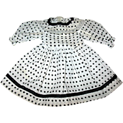 "Sweet Vintage Blue Polka Dot Doll Dress - For a 12 - 13"" Doll"