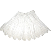 Gorgeous White Cotton Patterned Half Slip / Petticoat for Your Antique Doll
