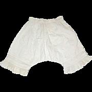 Pretty Vintage White Cotton Pantaloons w Pin Tucks and Lace Trim