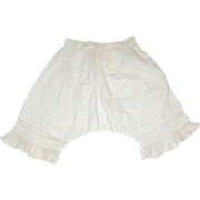 Pretty Vintage White Cotton Pantaloons w Pin Tucks and Lace Trim