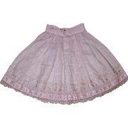 Beautiful Light Pink Muslin Petticoat wi Ornate Lace and Ribbon Trim