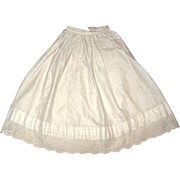Beautiful Vintage Doll Petticoat / Half Slip with Rows of Pin Tucks and Eyelet Trim