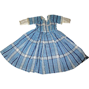 Vintage Blue Plaid Dress w Lace Trim for Your Small Doll