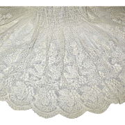 Exquisite Edwardian Embroidered Cotton Net Whitework Apron
