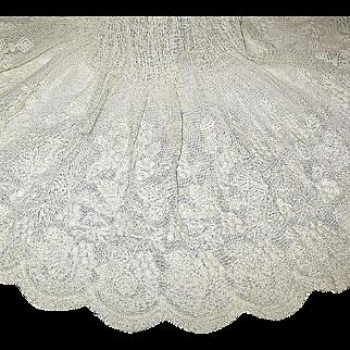 Exquisite Edwardian Embroidered Cotton Net Whitework Apron