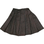 "Vintage 7"" Long Dark Brown Herringbone Tweed Wool Doll Skirt"