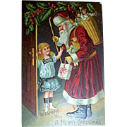 Edwardian Girl in Sailor Dress Greets Santa Claus 1911 German Postcard