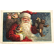Gorgeous Winsch Schmucker 1913 Santa Claus w Teddy Bear, Period Toys Christmas Postcard