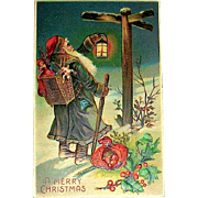 Excellent Santa Claus at Cross Road Sign 1908 Christmas Postcard