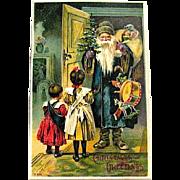 Very Scarce German Father Christmas Loaded w Gifts 1907 Christmas Postcard
