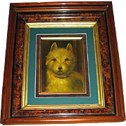 1880's West Highland White Terrier Dog Oil Painting by Listed Artist